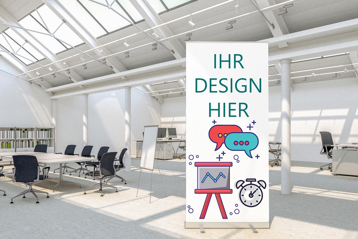Roll-up Banner als Werbetechnik gefertigt vom Team der Weyhe Werbung
